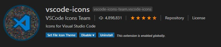 extension de iconos para visual studio code