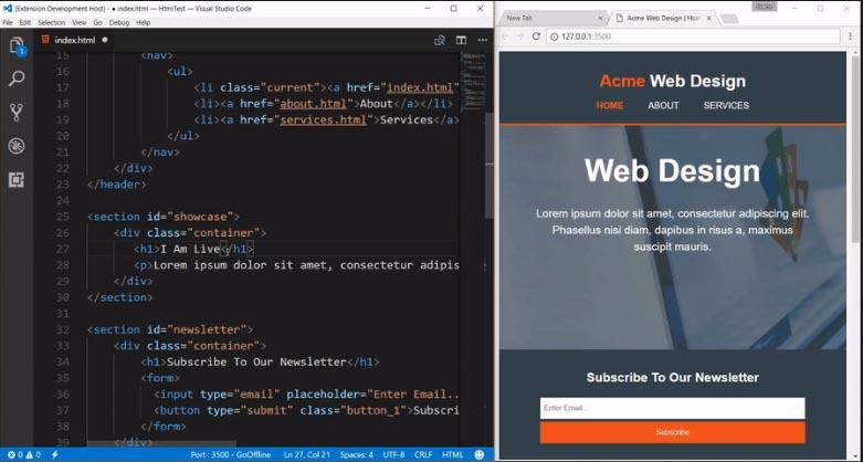 live server vista en tiempo real de mi codigo