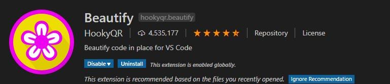 organizar mi codigo en visual studio code con extensiones